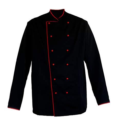 Kochjacke Schwarz mit Paspel Rot Gr. 52