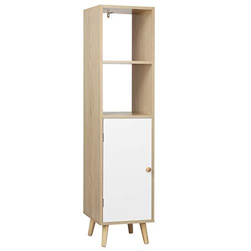 WOLTU SK017hei Bücherregal Bücherschrank Standregal Lageregal Aufbewahrungregal Raumteiler Büroregal mit Tür mit Holzbeine, MDF, Hell Eiche + Weiß, 33x30x133cm