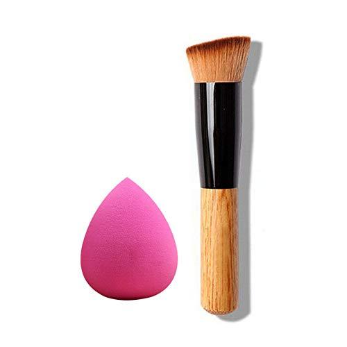 GUANGUA Pinceau de Maquillage Pinceau de Base et Base de Cache-cernes Maquillage Professionnel Ensemble de pinceaux à Manche en Bois Brosse de Maquillage
