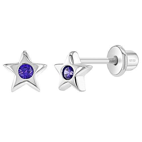 Pendientes de plata de ley 925 con diseño de estrella pequeña para bebés y niños pequeños