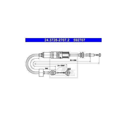 ATE 24.3728-2707.2 Seilzug, Kupplungsbetätigung