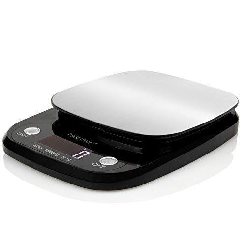 Hanmir Báscula Digital de Cocina Peso de Cocina 10 Kg/ 1 g, Acero Inoxidable, Pantalla LCD, balanza de Cocina, Negro(Baterías Incluidas)