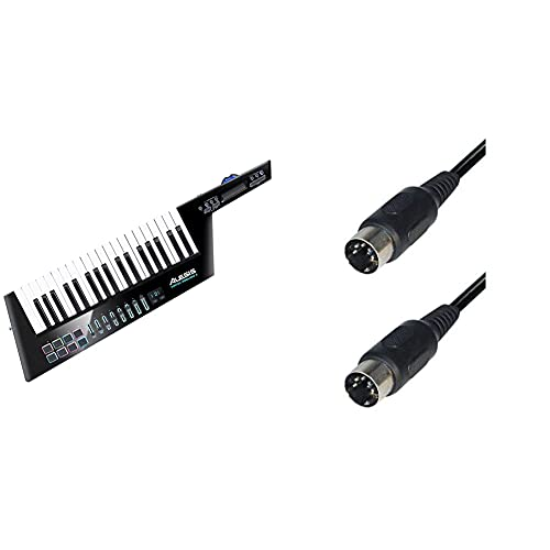 Alesis Vortex Wireless 2 - Kabelloser USB/MIDI Keytar Controller mit einem professionellen Softwarepaket inklusive Pro Tools   First & 2 Stück Hochwertiges Midikabel 5m schwarz 5pol DIN NEU TOP
