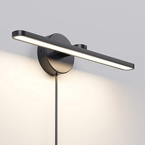MantoLite LED Wall Light, 15inch Aluminum Frame Picture Lighting, Plug-in Bathroom Mirror Lamp Modern Home Restaurant Bedside Wall Lamps Sconces,11W 880LM CRI90 3000K Warm White Black Finish