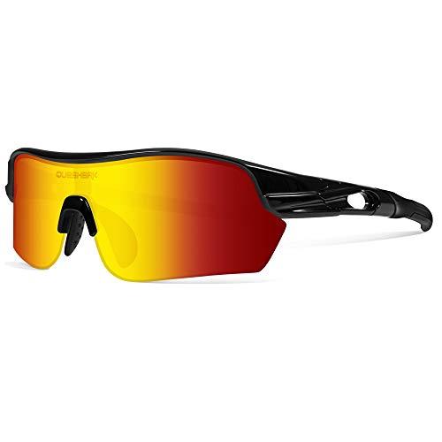 Queshark Polarisierte Sportsonnenbrille mit 4 Wechselgläsern für Herren Radfahren Laufen Fahren Fischen Golf Baseball