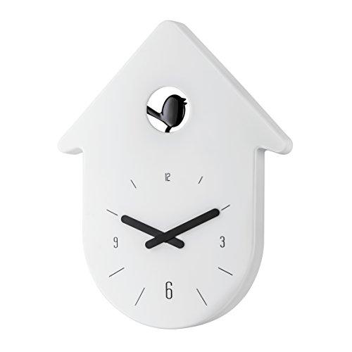 koziol Wanduhr  Toc-Toc,  Kunststoff, weiß mit Zeiger schwarz, 2,7 x 24 x 30,5 cm
