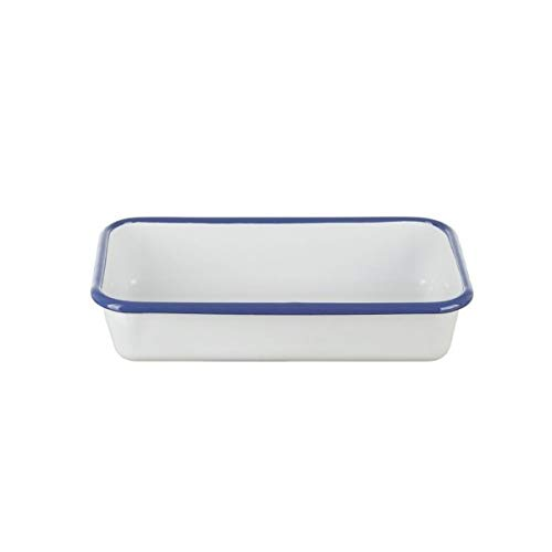 Münder Email Auflaufform,22x12 cm,5cm hoch,weiß/blau