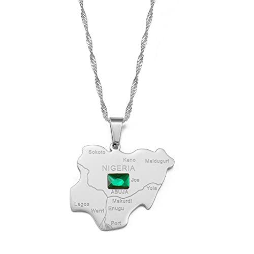 Minekkyes Mapa de Nigeria con Collares Pendientes de Piedra Verde Color Plateado Mapas nigerianos Joyería Regalo patriótico 60Cm