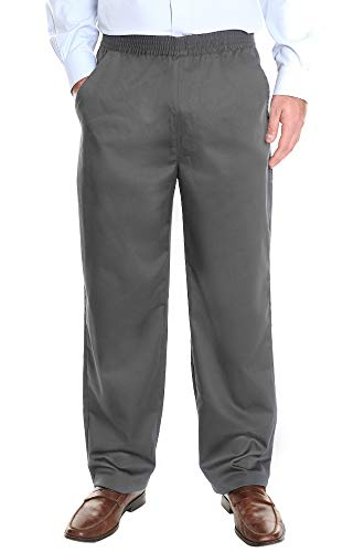 Ruxford Mens Elastic Waist Pants no Zipper | Pull on Pants & Casual Dress Slacks Gray