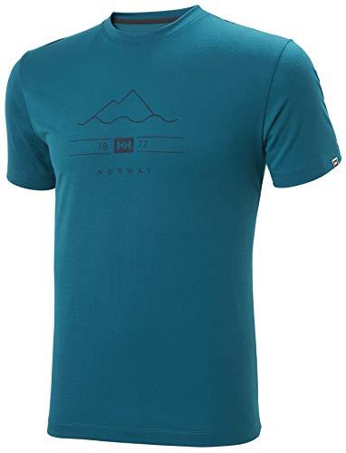 Helly Hansen Skog Graphic T-Shirt Camiseta, Hombre, Verde (Deep Lagoon), S