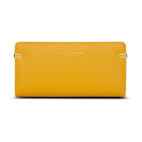 Portefeuille pour femme en cuir avec dragonne et carte RFID, b-yellow (jaune) - 9611F