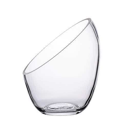 KnikGlass Glasschale Abgeschrägte Vase Schale, Pflanzenterrarium oder Bonbonglas, Klarglas Vase, runde Blumenvase (17,5 cm x 14 cm)