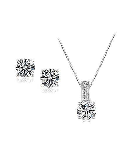 UDORA Cube Zircon Earrings Necklace Jewelry Set Bridesmaid Wedding Party Gift Package (J01)