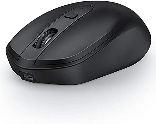Bluetooth Maus Kabellose, 2.4G+Bluetooth Wiederaufladbar Funkmaus Schnurlos Wireless Optische Maus für Desktop/Tablet/Laptop und Windows/Mac/Linux/iOS/iPad OS, Schwarz