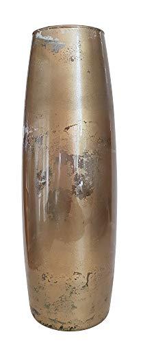 Oberstdorfer Glashütte Vase Gold antik Gold Glasvase schmal Shabby Gold für langstielige Blumen Tischvase antikes Design Höhe ca 38 cm Durchmesser Öffnung ca. 8,5 cm, Durchmesser Boden ca. 12 cm