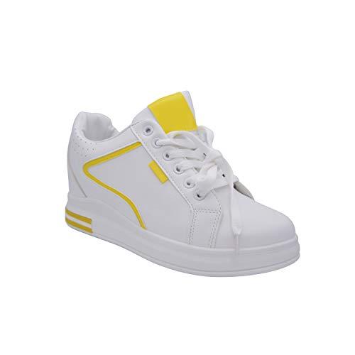 CucuFashion - Entrenadores de plataforma para mujer - Zapatillas de cuña de moda para mujer, de cuña alta gruesa para mujer, de color blanco para mujer, talla 3-8, color Blanco, talla 38 EU