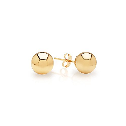 IcedTime 14k Yellow Gold Ball Stud Earrings pushback 3 4 5 6 7 8 10 12 IcedTime 14 MM (4 Millimeters)