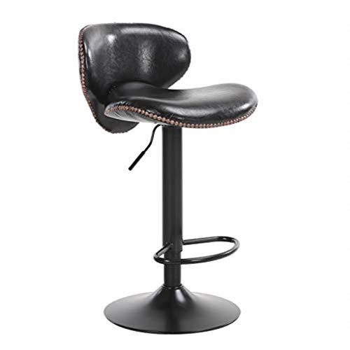 RMJAI Chaise de salle à manger en similicuir, tabourets de bar avec dossier réglable en hauteur, coussin de cuir blanc, base en métal, différentes couleurs à choisir, convient au bar Bar de cuisine po