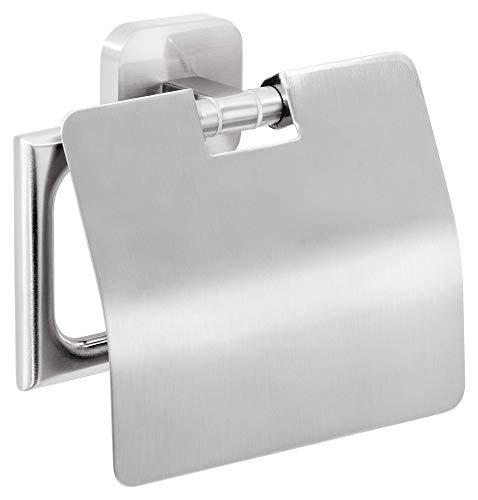 tesa ESTEETIC Toilettenpapierhalter mit Deckel, Edelstahloptik, inkl. Klebelösung, garantiert rostfrei, 135mm x 132mm x 48mm