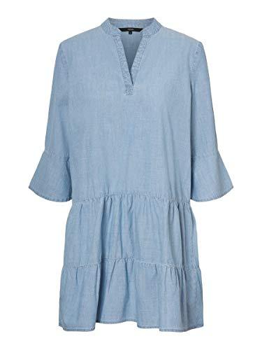 VERO MODA Damen VMCAROLA 3/4 Chambray Tunic GA Tunika-Shirt, Light Blue Denim, S