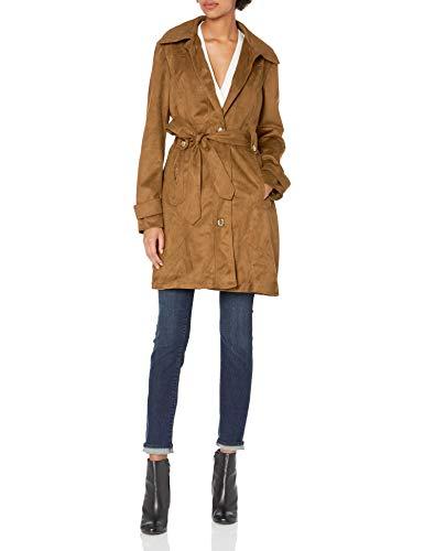 Jessica Simpson Women's Suede Rain Trench Coat, Cognac, L