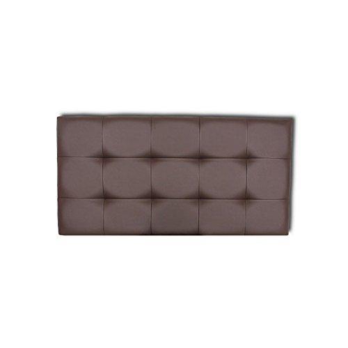 Ventadecolchones - Cabecero de Cama Tapizado Acolchado de Dormitorio en Polipiel con capitoné Modelo Tablet Wengué y Medidas 91 x 70 cm para Camas de 80 ó 90
