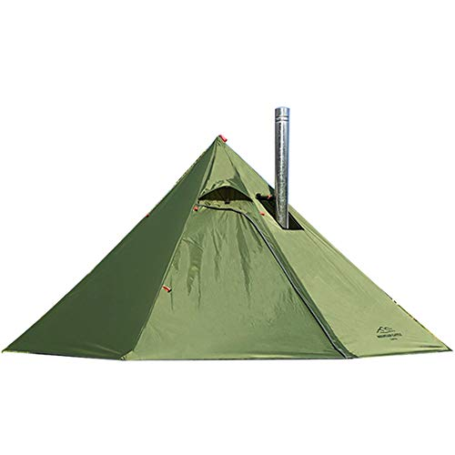 PRESELF Upgraded 3 Person Lightweight Tipi Hot Tent with Fire Retardant Stove Jack for Flue Pipes Teepee Tents for Family Team Outdoor Backpacking Camping Hiking (Olive)