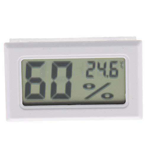 FLAMEER Digitales Thermometer Hygrometer Temperatur Luftfeuchtigkeit Messgerät mit LCD-Anzeige für Terrarium - Weiß ohne Sonde