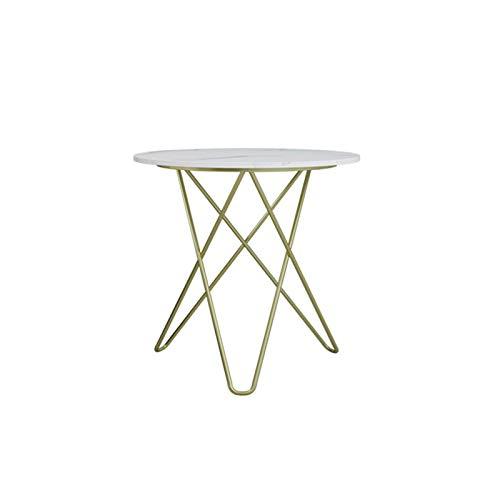 BZ-ZK Mesa redonda de mármol, dormitorio, salón, jardín, mesa de café geométrica dorada, decoración de patas de mesa de negociación, 50 x 50 x 60 cm (tamaño: 50 x 50 x 60 cm, color: A)