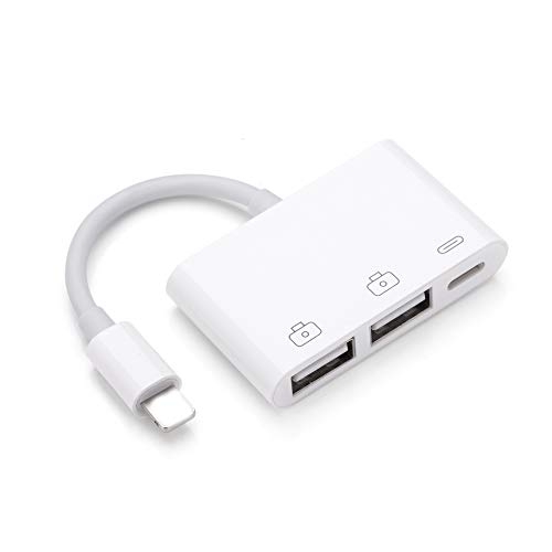 LYOS Doppel USB Anschluss OTG Kamera Camera Connection Kit kompatibel mit iPhone 12, 11, Pro, Max, X, Xs, Max, Xr, 8, Plus, iPad, iPad Pro, iOS 13