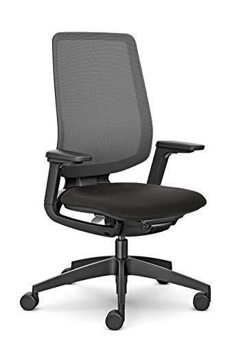 Sedus se:Flex Bürostuhl, Drehstuhl, mit Armlehnen, Membran, Kunststoff, Schwarz, Polster