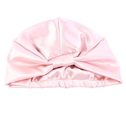 Gulang-keng - Cuffia da donna in finta seta, a contrasto, con fascia elastica a turbante, a doppio strato, per capelli ricci, naturali e lunghi, idea regalo