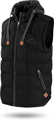 normani Outdoor Sports Wattierte Steppweste Bodywarmer - 100% Winddichte Outdoor Weste mit Lederpatch, Kapuze und Stehkragen Farbe Dark-Black Größe L/52