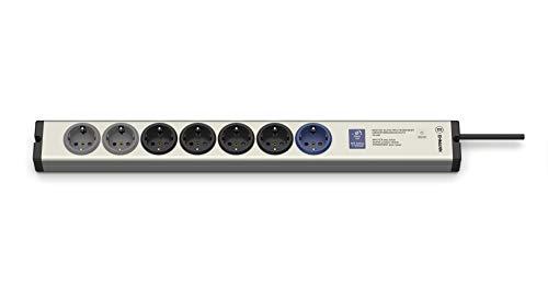 EHMANN 0615x00078001 Aluminium Master/Slave Steckdosenleiste, Professional 5+2-Fach, einstellbare Schaltschwelle 7-100 Watt, mit Überspannungsschutz nach EN 61643-11 Typ3