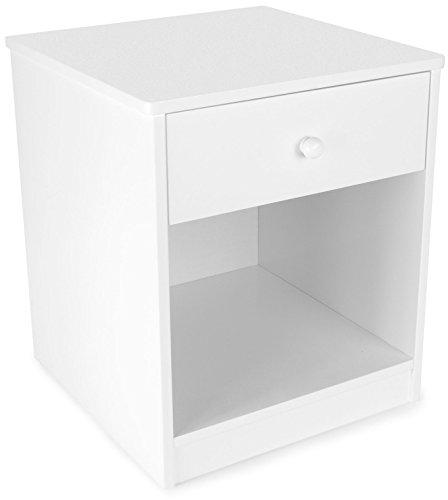 Leomark comodino classico per cameretta con cassetto e scompartimento apertoin, cassettiera per bambini in legno, colore bianco, dimensioni: 34,5cm x 34,5cm x 40,5cm (LxPxA)