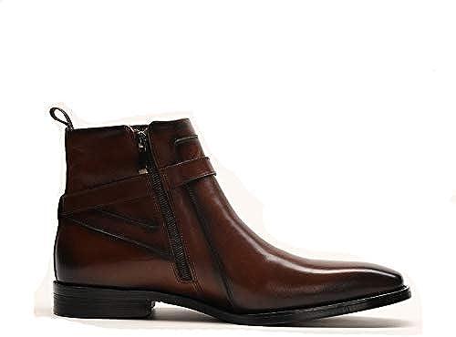 ZHRUI Stiefel Laterales con Cremallera para Hombre Stiefel Suaves y Confortables y Antideslizantes cómodas y Transpirables (Farbe   braun, tamaño   EU 42)