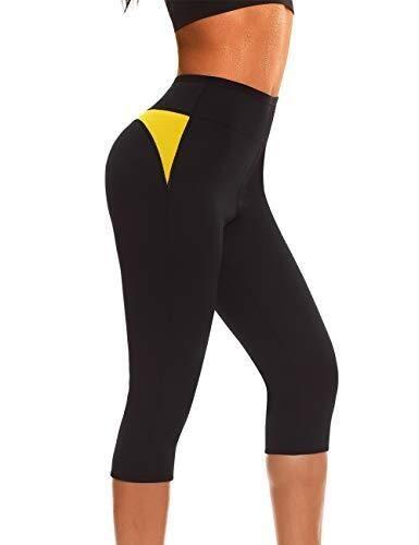 Vrouwen Sauna joggingbroeken Hot Thermo Afslanken Leggings neopreen Pants Weight Loss Workout Broeken (Color : Black, Size : S)