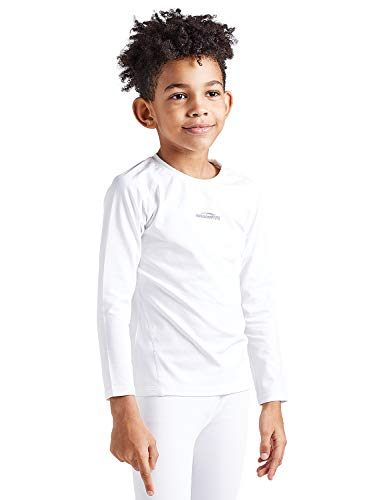 COOLOMG Kinder Shirt Thermowäsche Funktionswäsche Base Layer Radsport Joggen Fitness Outdoor Innenfleece Winter (L, weiß(Shirt))
