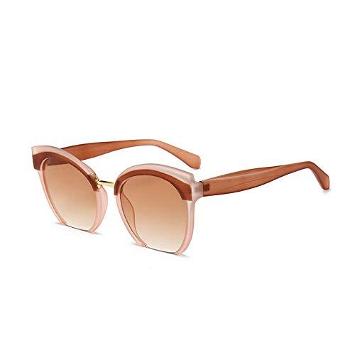 hqpaper Gafas de sol de ojo de gato de moda para mujer Gafas de sol coloridas europeas y americanas-Marco de té Rebanadas de té ligero