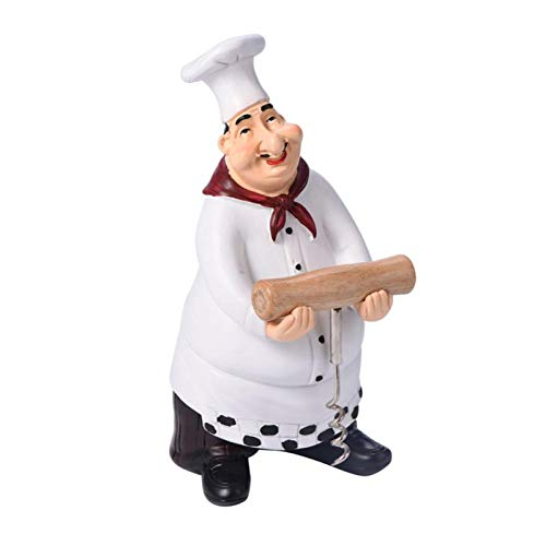 Telituny Estatua de Chef-Bonita Estatua de Chef Adornos de estatuilla Decoración del hogar Vintage Cocina Restaurante Artesanía de Resina(style5)