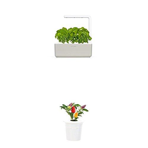 Click & Grow Smart Garden 3 jardinière d'intérieur 30 x 10 x 28 cm Beige (contient 3 capsules de basilic) + 2 recharges piment (x3)