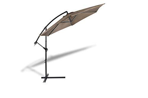 909 OUTDOOR Ampelschirm mit Aufbewahrungshülle Ø 300 cm in Taupe, Verstellbarer Sonnenschirm mit Fußkreuz und Kurbel, Gartenschirm aus Polyester & Stahl
