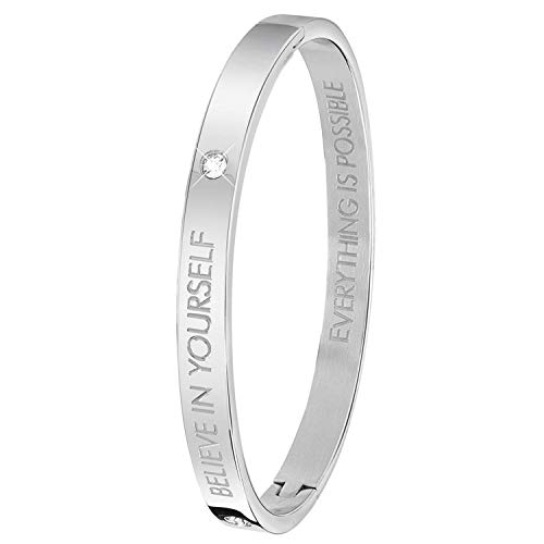 Guess - Bangle-Stahlarmreif mit Text: Believe in Yourself. - 62 mm - Oval