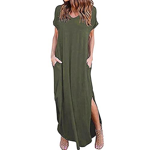 ASDVB Damen Sommer Strand Kurzarm Einfarbig V-Ausschnitt Split Gabel Bodenlanges Elegant langes Kleid Freizeitkleid