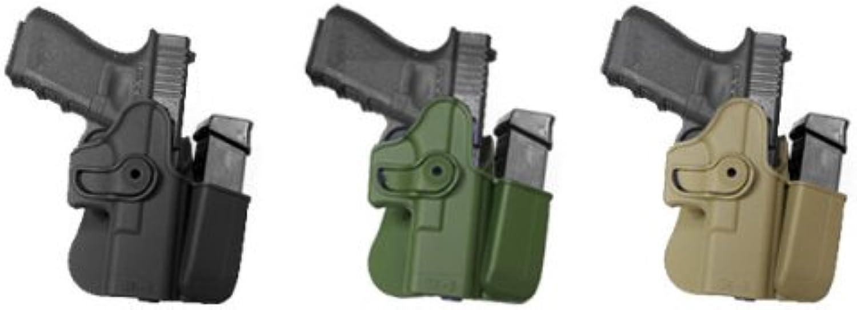 Hand Gun GK3 Polymer Holster Case + Integrated Mag Pouch Black Glock 17 22 31 19 23 32 36 IMI RSR Defence Gun Hand Gun Holster Case