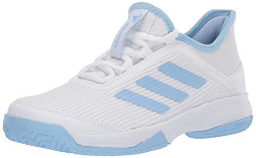 adidas Unisex-Kid's Adizero Club Tennis Shoe, White/Glow Blue/White, 10.5K M US Little Kid