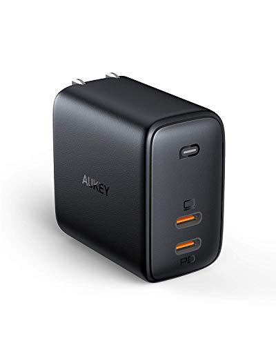 USB C Charger AUKEY USB Fast Charger 65W PD 3.0 with Dynamic Detect [GaN Power Tech] USB C Dual Port for iPhone 11 Pro Max, AirPods Pro, Google Pixel 4XL, Samsung Galaxy S10, Nintendo Switch, and more