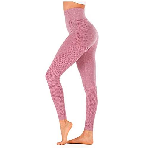 QTJY Leggings elásticos sin Costuras de Cintura Alta, Ejercicio Push-up para Mujer, Pantalones de Yoga para Correr, HS