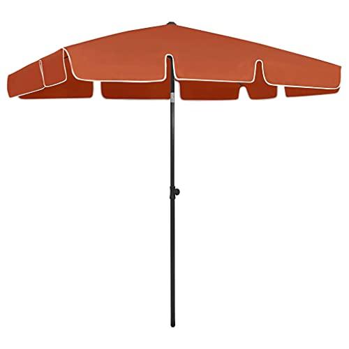 vidaXL Sombrilla de Playa Parasol Exterior Patio Terraza Marquesina Refugio Solar contra Rayos Ultravioleta Piscina Toldo Terracota 200x125 cm