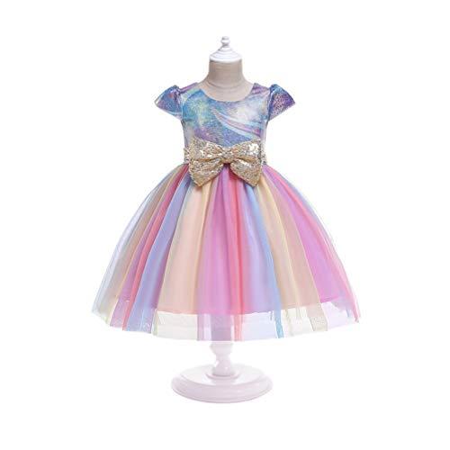 NUOBESTY Niños Unicornio Arcoiris Vestido Cosplay Disfraz Rosa Tutú Falda Vestido de Tul Falda para Cumpleaños Carnaval Banquete Fiesta de Rendimiento 150 Cm